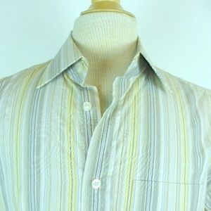 PAUL SMITH ITALY BEIGE KHAKI GRAY STRIPE SHIRT